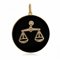 Pendentif or jaune et onyx, signe balance