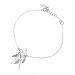 Bracelet en argent rhodié, pampilles plumes