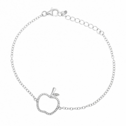 Bracelet en argent rhodié et oxydes de zirconium, pomme