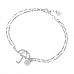Bracelet en argent rhodié, oxydes de zirconium et perle synthétique