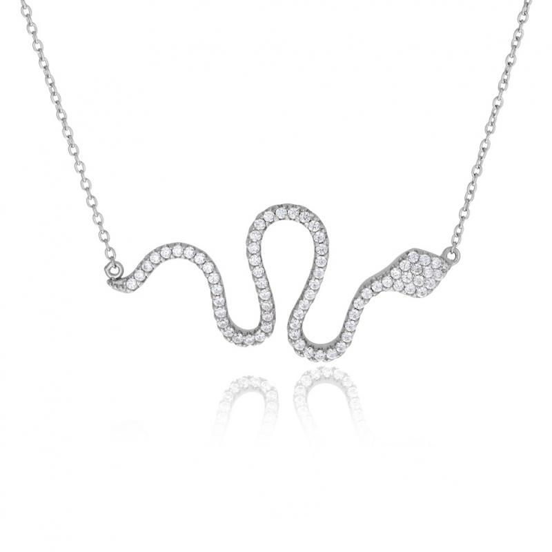 Achat Collier en argent rhodié et oxydes de zirconium serpent ... 4aed33bbda34