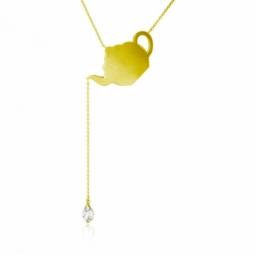 Collier en or jaune, oxyde de zirconium