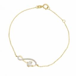 Bracelet en or jaune rhodié serti de Swarovski Zirconia