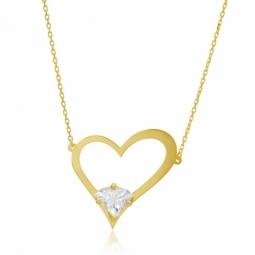 Collier en or jaune, coeur ajouré, oxyde de zirconium