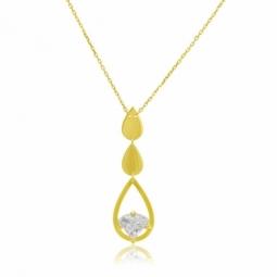 Collier en or jaune serti de Swarovski Zirconia