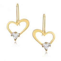 Boucles d'oreilles coeur ajouré en or jaune serties de Swarovski Zirconia