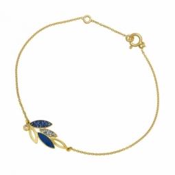 Bracelet en or jaune,laque et oxyde de zirconium