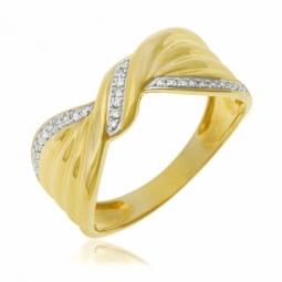 Bague noeud drapé or jaune rhodié et diamants