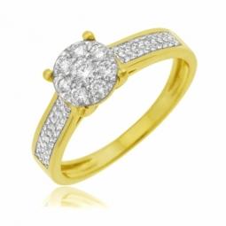 Bague en or jaune rhodié et diamants