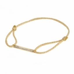 Bracelet cordon doré en or jaune et laque pailletée
