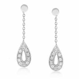 Boucles d'oreilles en or gris gouttes diamants