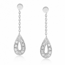 Boucles d'oreilles en or gris gouttes diamants