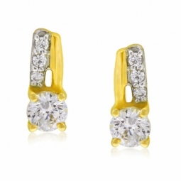 Boucles d'oreilles or jaune rhodié et oxydes de zirconium