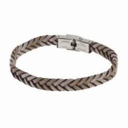 Bracelet acier et simili cuir,  marron pailleté
