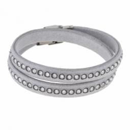 Bracelet acier, simili cuir et cristaux de synthèse