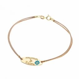 """Bracelet en or jaune, cordon et laque """"maman je t'aime"""""""