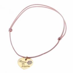 Bracelet en or jaune, cordon et coeur laque