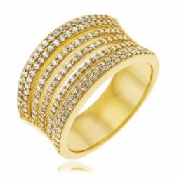 Bague en plaqué or, oxydes de zirconium