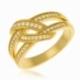 Bague en plaqué or, oxydes de zirconium - A