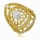 Bague en argent doré, perle de culture et  oxydes zirconium - A