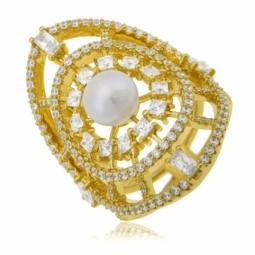 Bague en argent doré, perle de culture et  oxydes zirconium