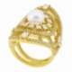 Bague en argent doré, perle de culture et  oxydes zirconium - B