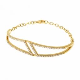 Bracelet en plaqué or, oxydes de zirconium