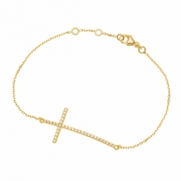 Bracelet en plaqué or et oxydes zirconium, croix
