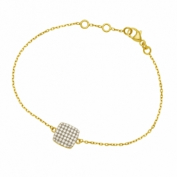 Bracelet en plaqué or, oxydes de zirconium, carré