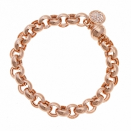 Bracelet bronze plaqué or  rose et oxydes de zirconium, maille jaseron