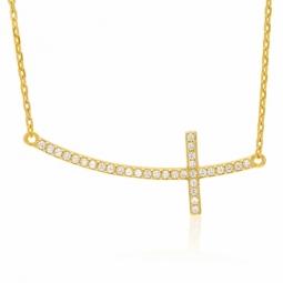 Collier en plaqué or, oxydes de zirconium, croix