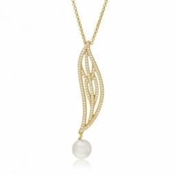 Collier en argent doré, perle de culture et oxydes de zirconium