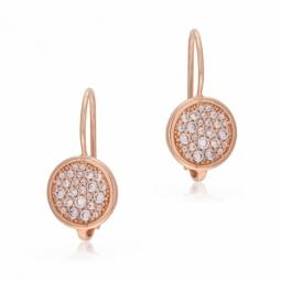 Boucles d'oreille en bronze plaqué or  rose et oxydes de zirconium