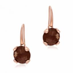 Boucles d'oreilles en bronze doré rose et quartz fumé