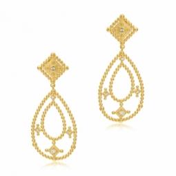Boucles d'oreilles en argent doré et oxydes de zirconium