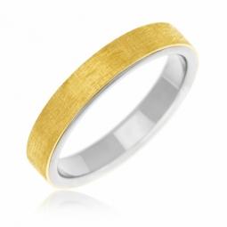 Alliance en or jaune brossé et titane 4 mm