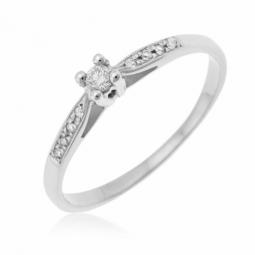 Bague solitaire accompagné en or gris diamants serti 4 griffes