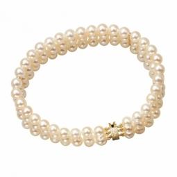 Bracelet en or jaune, 3 rangs de perles de culture d'eau douce 5/5,5mm, fermoir cliquet