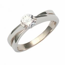 Solitaire croisé or gris diamant, serti griffes