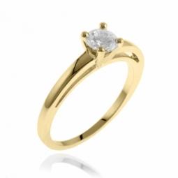 Solitaire double corps or jaune diamant,serti griffes