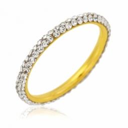 Bague en or jaune et cristaux de synthèse blancs