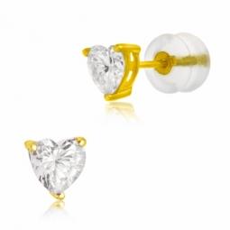 Boucles d'oreilles en or jaune, oxyde de zirconium, poussettes silicones