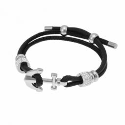 Bracelet en acier, cristaux de synthèse et résine, simili cuir, ancre marine