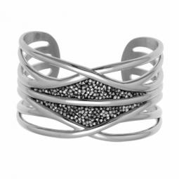 Bracelet manchette en acier et cristaux de synthèse