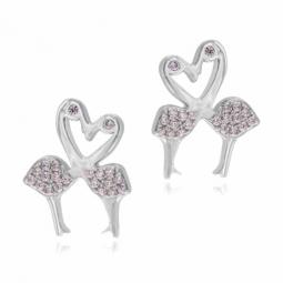 Boucles d'oreilles en argent rhodié, oxydes de zirconium rose