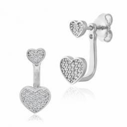 Boucles d'oreilles en argent rhodié et oxydes de zirconium, coeurs