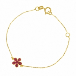 Bracelet en or jaune et laque, fleur