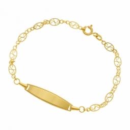 Identité en or jaune, filigrane, plaque ovale