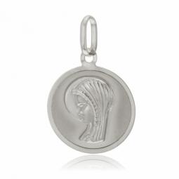Médaille ronde en or gris, vierge