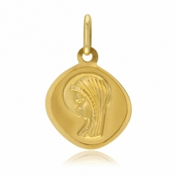 Médaille losange en or jaune, vierge